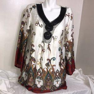 Zara Paisley Print Warm Toned Silky Flowy Dress